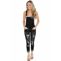 Black Wash Distressed Jeans Overalls